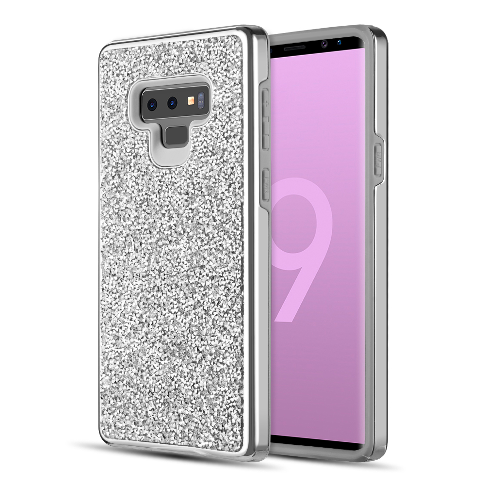 Samsung Galaxy Note 9 Crystal Back Case  [Silver] Two Tone Glitter Hybrid Candy Case [Fashionable Protection] Flexible Plastic TPU Cover