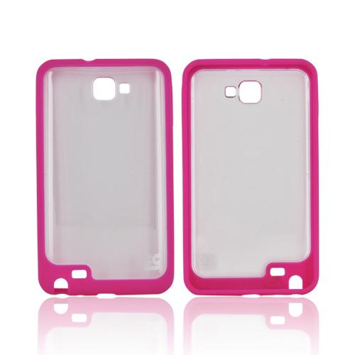 Samsung Galaxy Note AquaFlex Hybrid Hard Case w/ Crystal Silicone Border - Hot Pink/ Clear