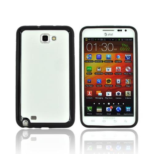 Samsung Galaxy Note Hard Case w/ Gummy Silicone Border - White/ Black