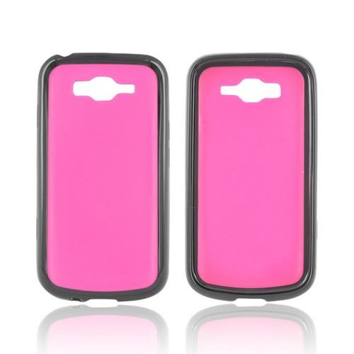 Samsung Focus 2 Hard Back Case w/ Gummy Crystal Silicone Lining - Hot Pink/ Black