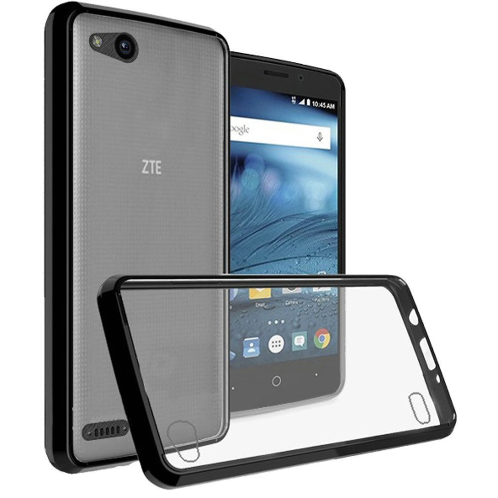 [REDshield] ZTE Tempo X/ Avid 4 Crystal Back Case, [Black & Clear] Fusion Candy Bumper Case [Drop Protection] Flexible Border