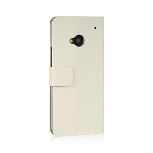 White Dolce Faux Leather Case Stand for HTC One