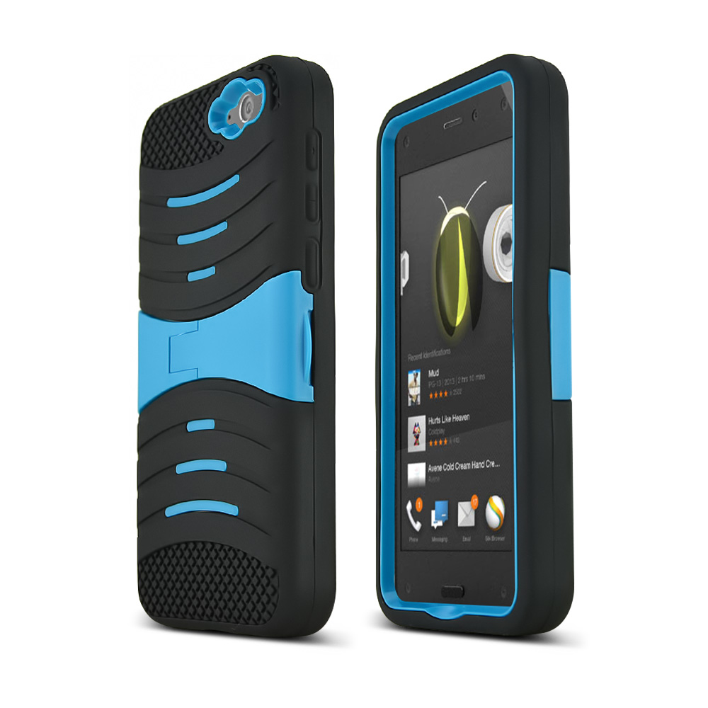 Teal/ Black Amazon Fire Silicone & Hard Case Armor Hybrid w/ Kickstand - Great Protection!