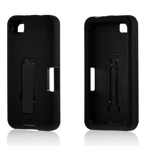 Black Silicone on Black Hard Case w/ Kickstand for Blackberry Z10