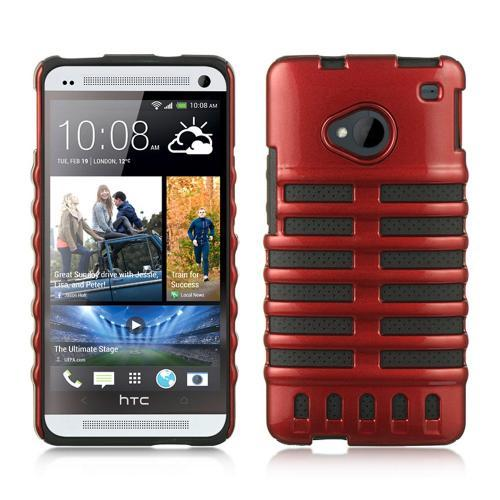 Red Skeleton Hard Cover on Black Silicone for HTC One