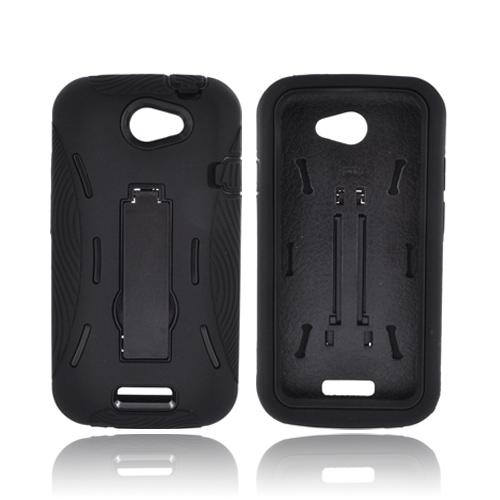 HTC One S Silicone Over Hard Case w/ Stand - Black
