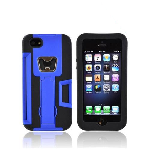 Apple iPhone SE / 5 / 5S  Case,  [Blue/ Black]  Silicone Over Hard Case w/ Bottle Opener w/ ID Holder & Stand
