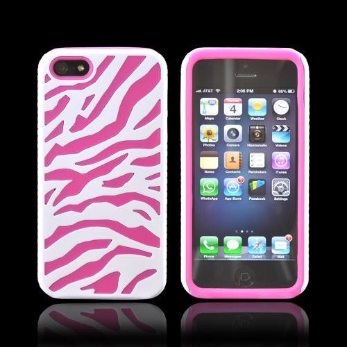 Apple iPhone SE / 5 / 5S  Case,  [White/ Hot Pink]  Zebra Shell on Silicone Case
