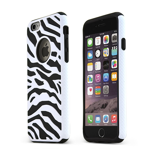 Apple iPhone 6/ 6S Case,  [White/ Black] Dual Layer Slim & Flexible Anti-shock Crystal Silicone Protective TPU Gel Skin Case Cover