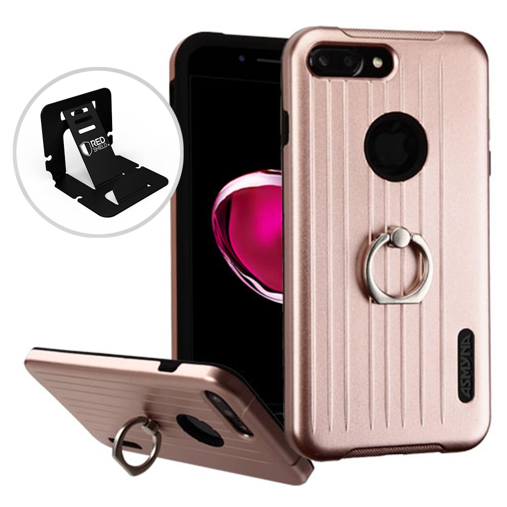Apple iPhone 8/7/6S/6 Plus Case, Hybrid Dual Layer Hard Case on Silcone Skin w/ Metal Ring Stand [Rose Gold/ Black] with Travel Wallet Phone Stand