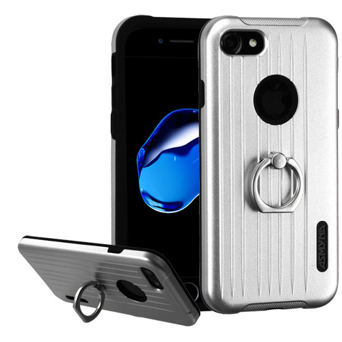 Made for Apple iPhone 8/7/6S/6 Case, Hybrid Dual Layer Hard Case on Silcone Skin w/ Metal Ring Stand [Silver/ Black] with Travel Wallet Phone Stand by Redshield