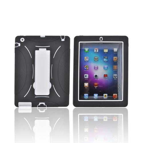 Black/ White Apple iPad 2/3 Silicone Over Hard Case w/ Stand