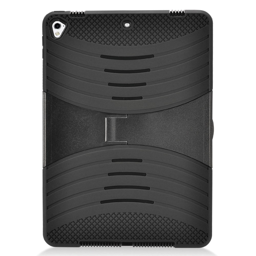 Apple iPad 9.7 inch (2017) Hybrid Case, Supreme Protection Silicone Skin Case on Hard Case Dual Layer Hybrid Case w/ Kickstand [Black]