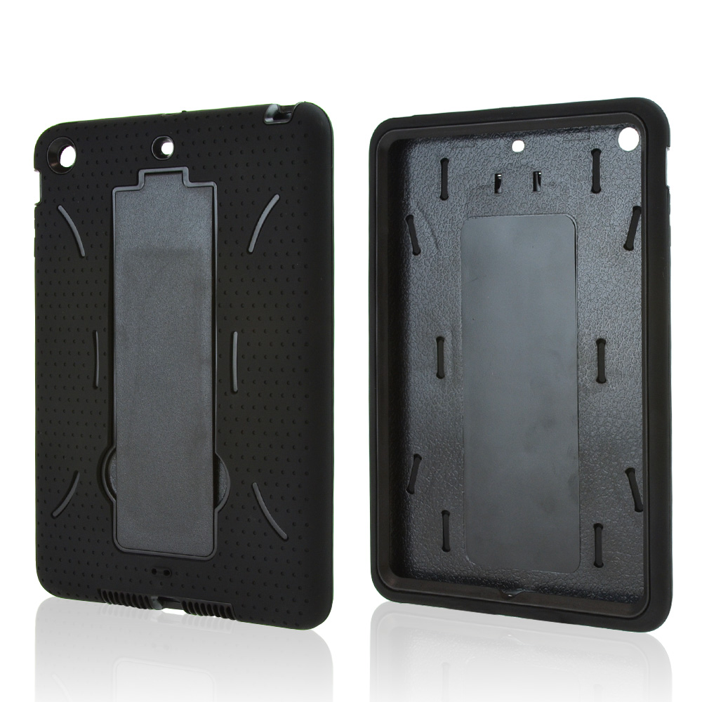 Made for Apple iPad Mini 2/3 Black Silicone Skin Case on Black Hard Case w/ Kickstand by Redshield