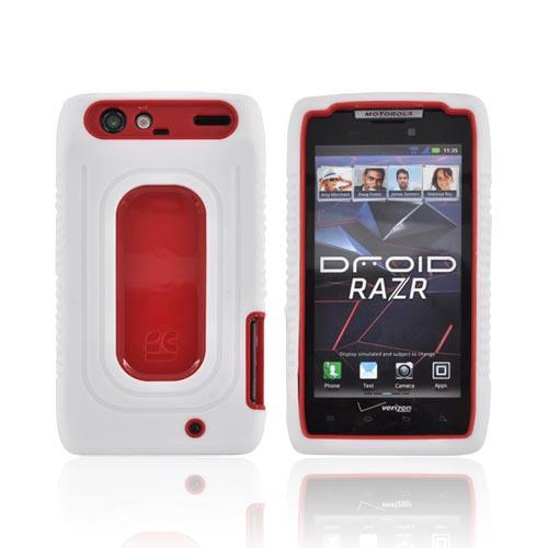 Motorola Droid RAZR Silicone Over Hard Case - White/ Red