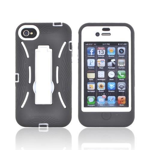 AT&T/ Verizon Apple iPhone 4, iPhone 4S Silicone Over Hard Case w/ Stand - Black/ White