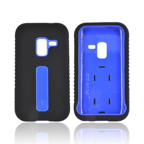 Samsung Conquer 4G Silicone Over Hard Case w/ Screen Protector - Blue/ Black