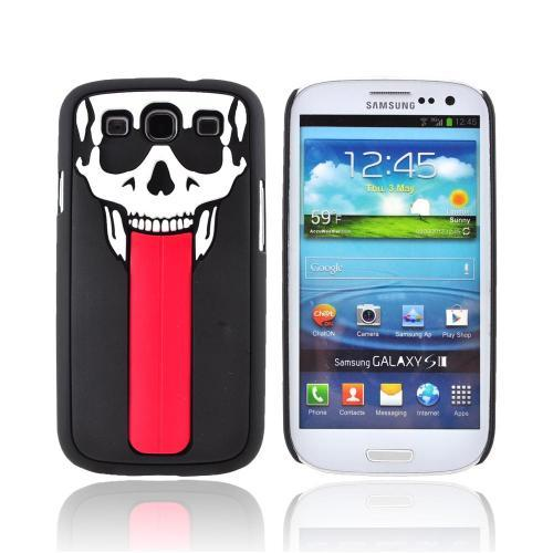Samsung Galaxy S3 Hybrid Hard Case w/ Pop Out Flexi Stand - White Skull w/ Red Tongue on Black