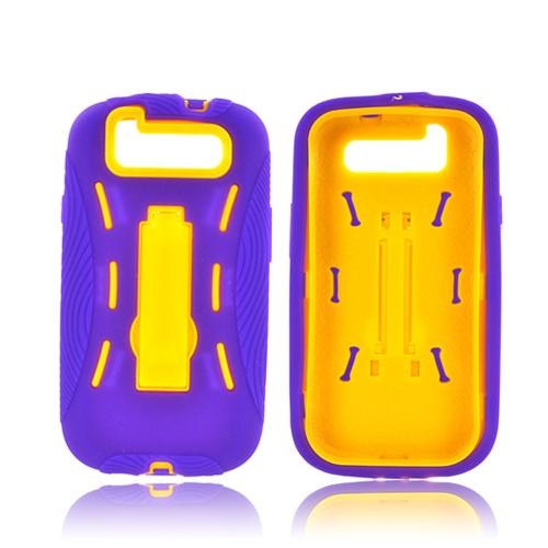 Samsung Galaxy S3 Silicone Over Hard Case w/ Kickstand - Purple/ Yellow