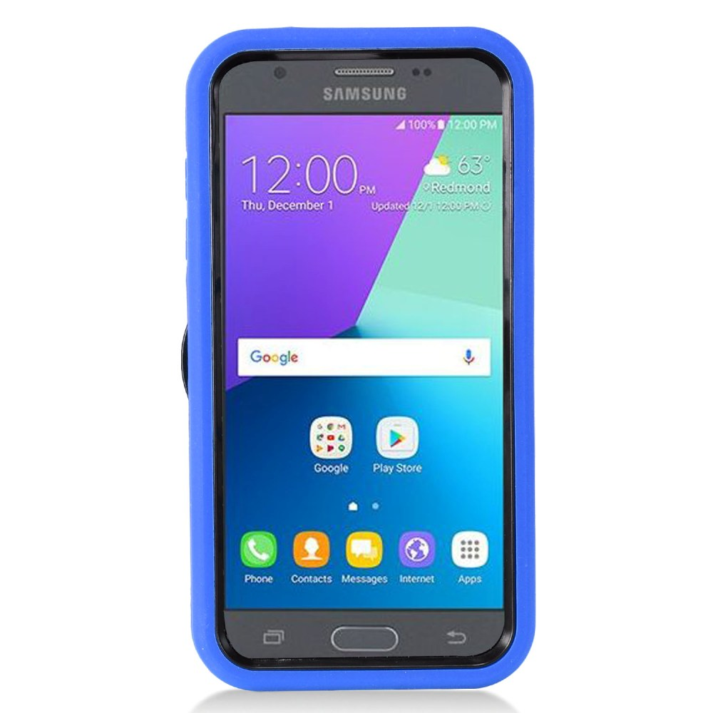 Samsung Galaxy J3 Emerge Case, Supreme Protection Silicone Case on Hard Case Dual Layer Hybrid Case w/ Kickstand [Blue/ Black] with Travel Wallet Phone Stand
