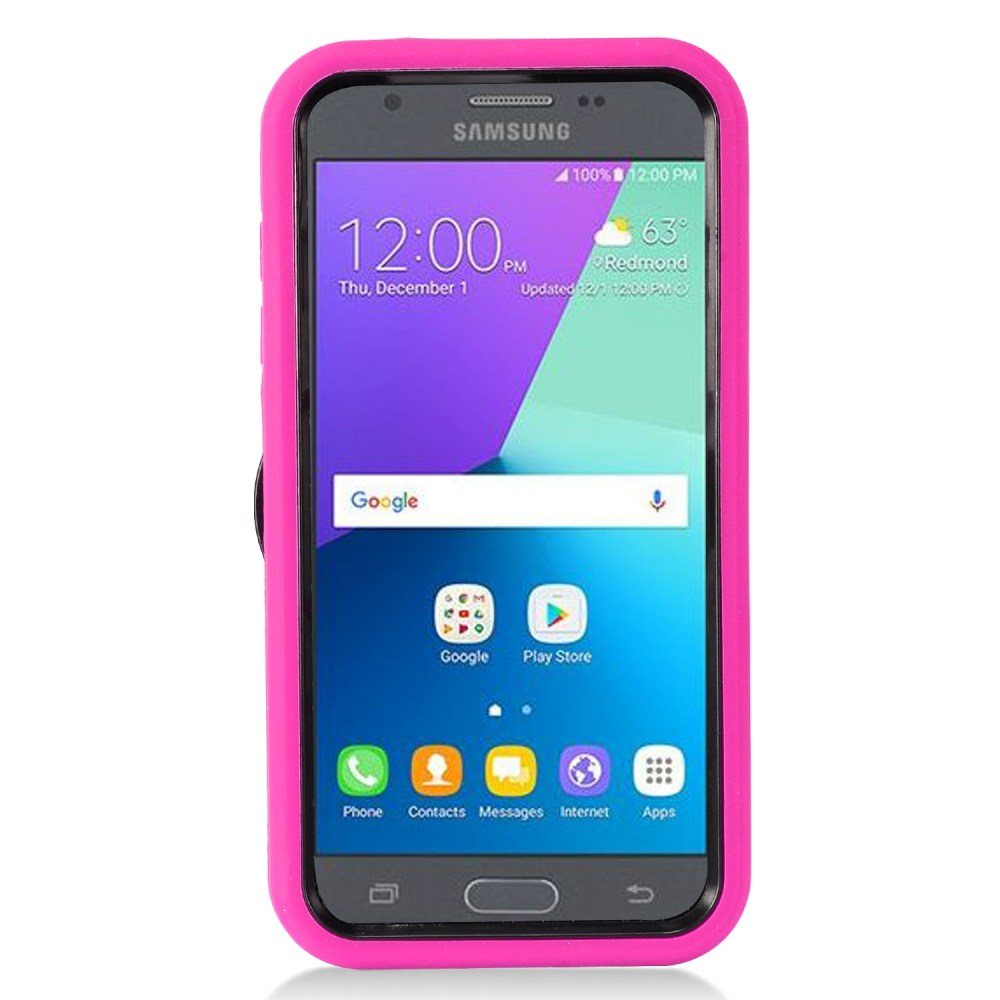 Samsung Galaxy J3 Emerge Case, Supreme Protection Silicone Case on Hard Case Dual Layer Hybrid Case w/ Kickstand [Hot Pink/ Black] with Travel Wallet Phone Stand