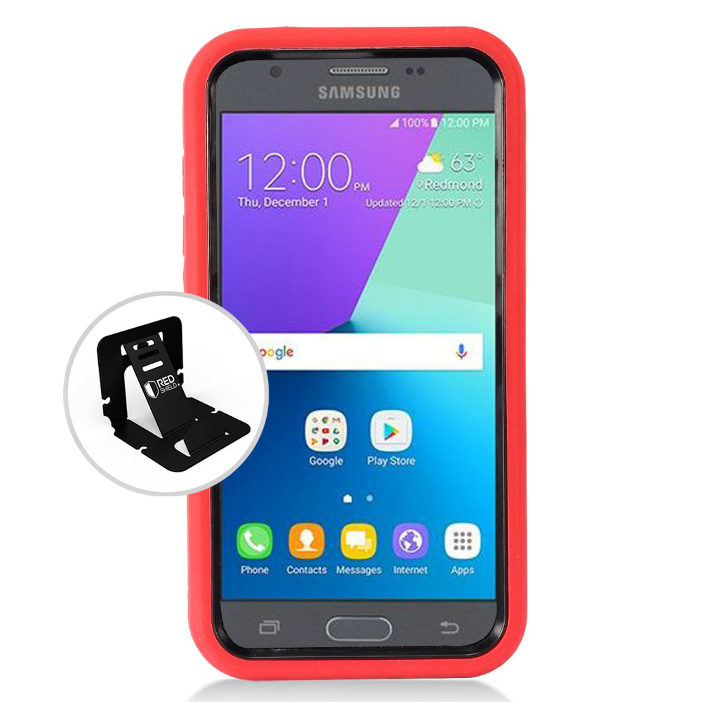 Samsung Galaxy J3 Emerge Case, Supreme Protection Silicone Case on Hard Case Dual Layer Hybrid Case w/ Kickstand [Red/ Black] with Travel Wallet Phone Stand