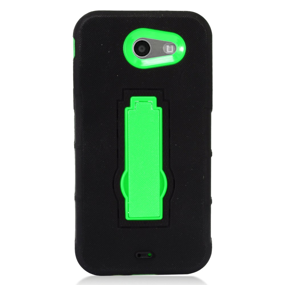 Samsung Galaxy J3 Emerge Case, Supreme Protection Silicone Skin Case on Hard Case Dual Layer Hybrid Case w/ Kickstand [Black/ Neon Green] with Travel Wallet Phone Stand