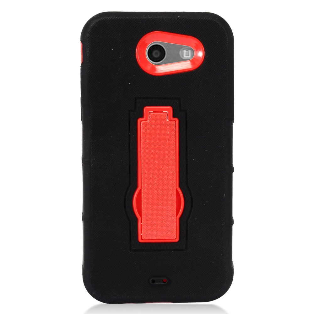 Samsung Galaxy J3 Emerge Case, Supreme Protection Silicone Skin Case on Hard Case Dual Layer Hybrid Case w/ Kickstand [Black/ Red] with Travel Wallet Phone Stand