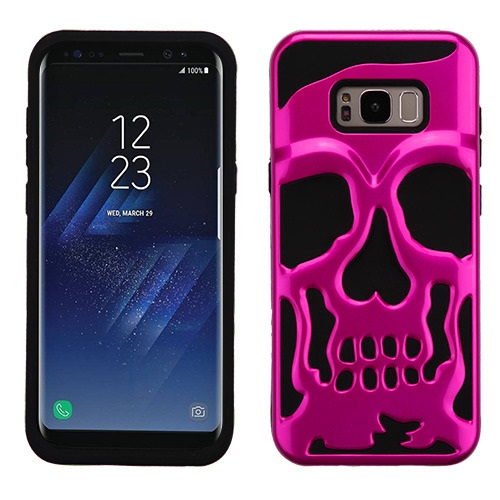 Samsung Galaxy S8 Skull Case, Hybrid Dual Layer Hard Case on Silicone Skin [Hot Pink] with Travel Wallet Phone Stand
