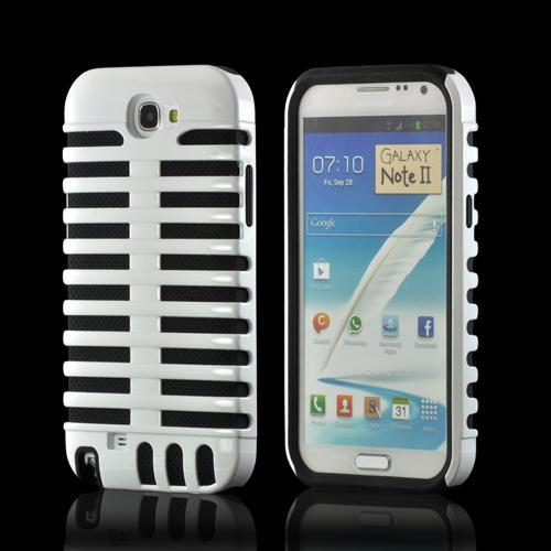 White/ Black Hard Cover on Silicone for Samsung Galaxy Note 2