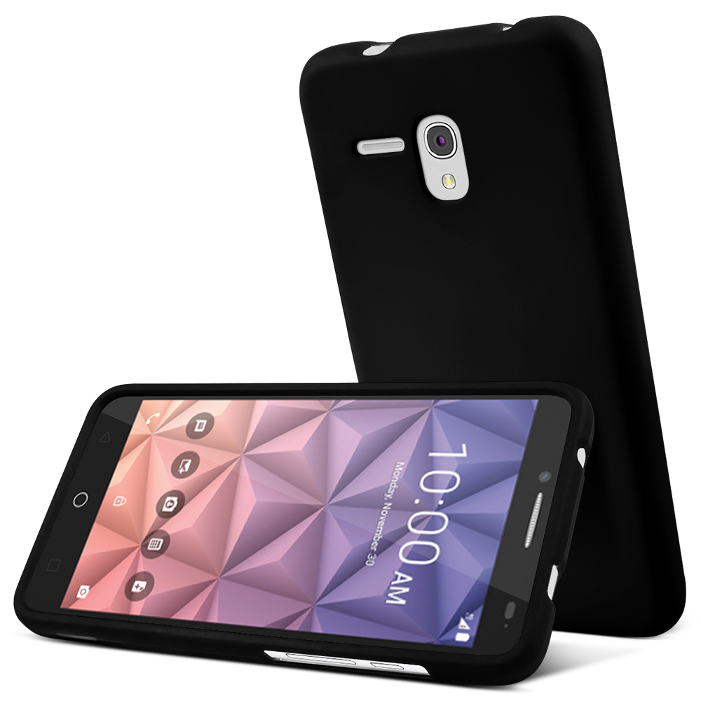 Alcatel OneTouch Fierce XL Case, [Black] Slim & Protective Rubberized Matte Hard Plastic Case
