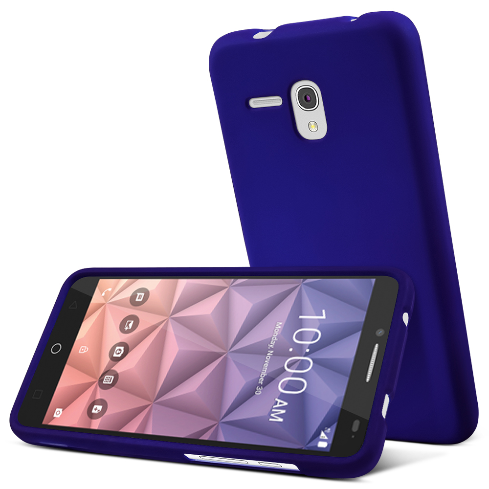 Alcatel OneTouch Fierce XL Case, [Blue] Slim & Protective Rubberized Matte Hard Plastic Case