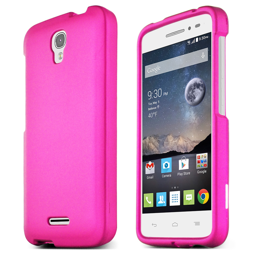 Alcatel Onetouch POP Astro Case, HOT PINK Slim & Protective Rubberized Matte Hard Plastic Case