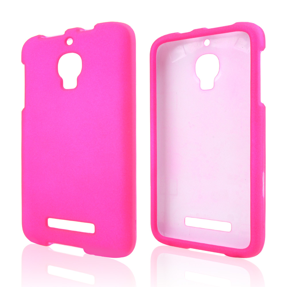Hot Pink Rubberized Hard Case for Alcatel One Touch Fierce