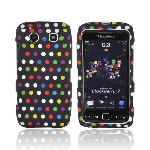 Blackberry Torch 9850 Rubberized Hard Case - Rainbow Polka Dots on Black
