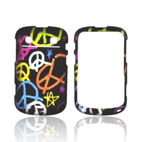 Blackberry Bold 9900, 9930 Rubberized Hard Case - Rainbow Peace Signs on Black