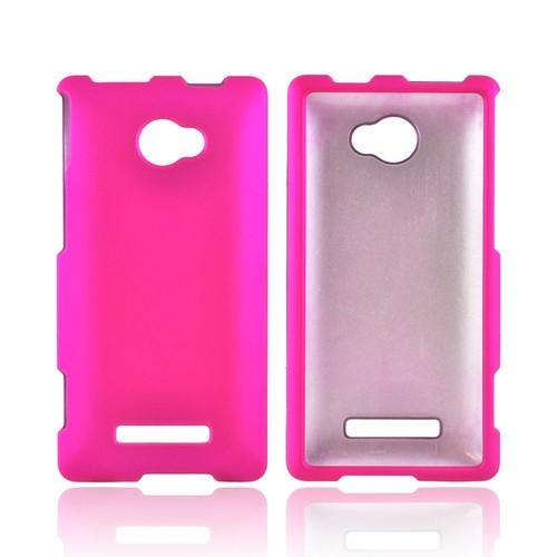 HTC 8X Rubberized Hard Case - Hot Pink