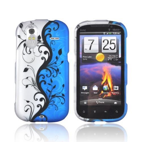 HTC Amaze 4G Rubberized Hard Case - Black Vines on Blue/ Silver