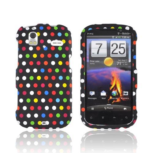 HTC Amaze 4G Rubberized Hard Case - Rainbow Polka Dots on Black