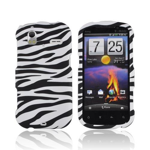 HTC Amaze 4G Rubberized Hard Case - Black/ White Zebra