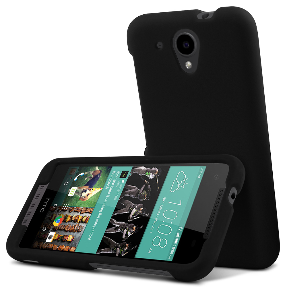 HTC Desire 520 Case, [Black] Slim & Protective Rubberized Matte Hard Plastic Case