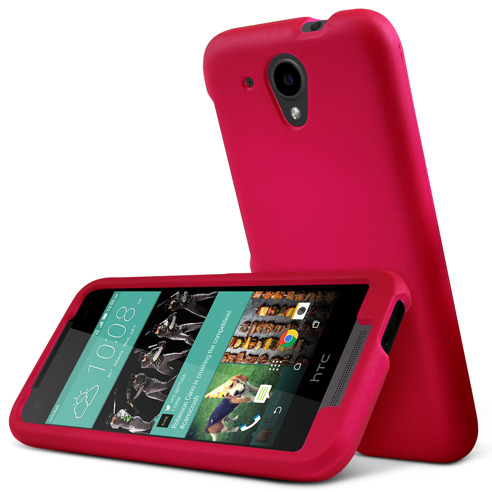 HTC Desire 520 Case, [Hot Pink] Slim & Protective Rubberized Matte Hard Plastic Case