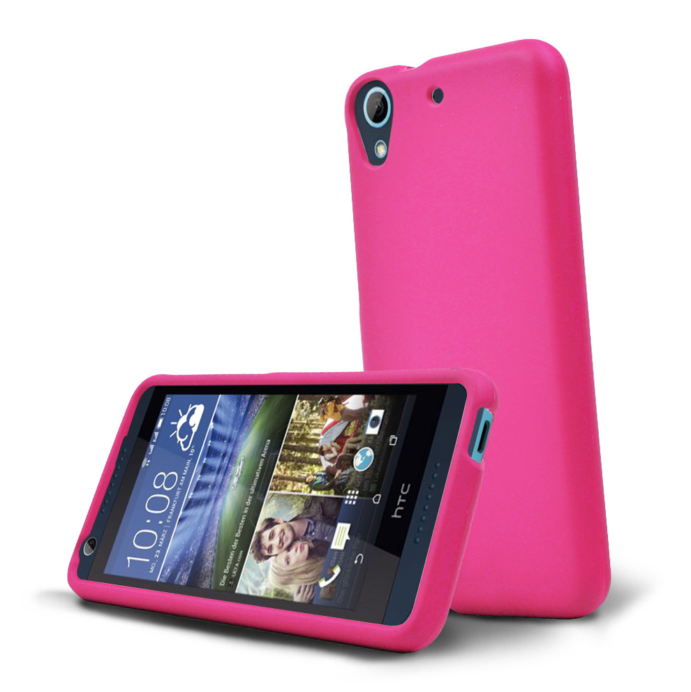HTC Desire 626 Case, [Hot Pink] Slim & Protective Rubberized Matte Hard Plastic Case