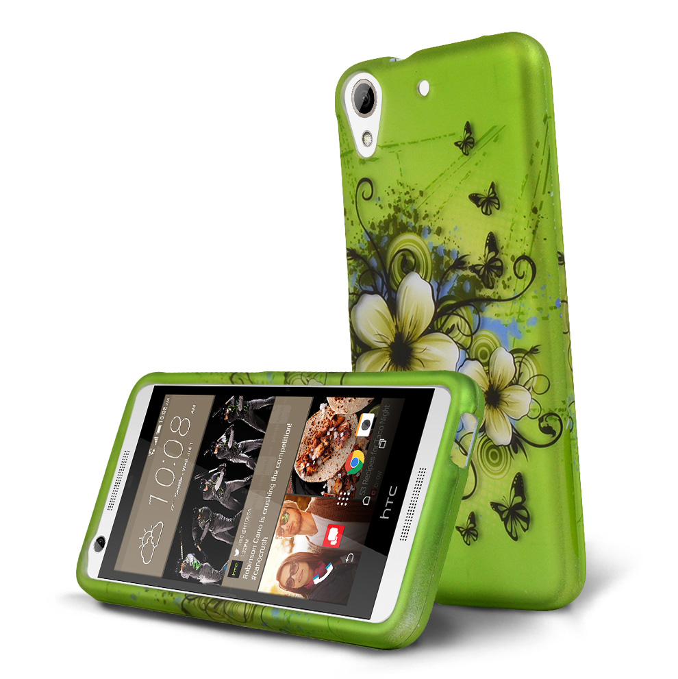 HTC Desire 626 Case, [Green Hawaiian Flowers] Slim & Protective Rubberized Matte Hard Plastic Case