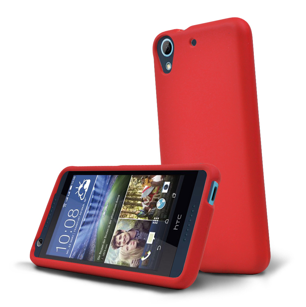HTC Desire 626 Case, [Red] Slim & Protective Rubberized Matte Hard Plastic Case