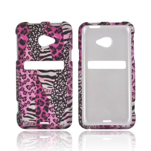HTC EVO 4G LTE Rubberized Hard Case - Pink Animal Print