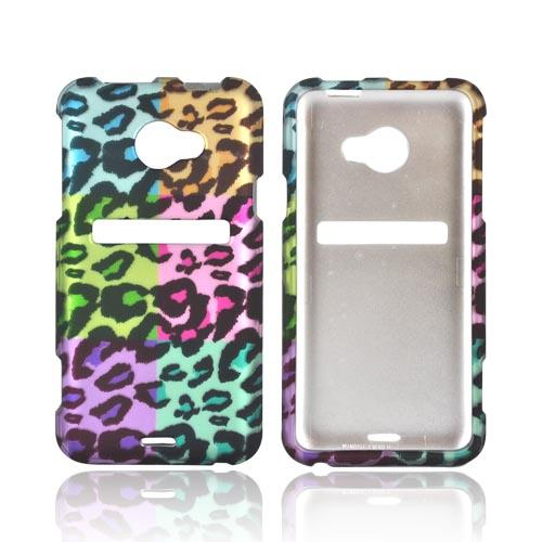 HTC EVO 4G LTE Rubberized Hard Case - Multi-Colored Artsy Leopard