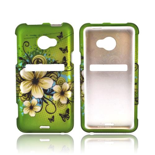 HTC EVO 4G LTE Rubberized Hard Case - White Hawaiian Flowers on Green
