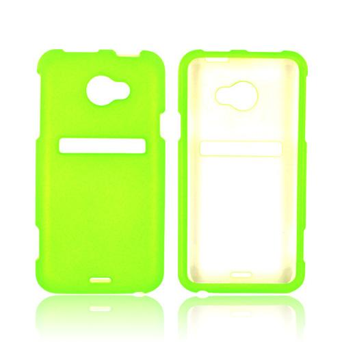 HTC EVO 4G LTE Rubberized Hard Case - Neon Highlighter Yellow Green