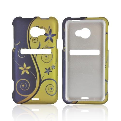 HTC EVO 4G LTE Rubberized Hard Case - Purple/ Gold Royal Swirl & Flowers